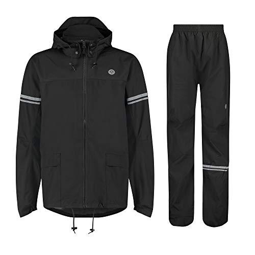 AGU Essential Original Regenanzug, Regenkleidung Fahrrad Herren & Damen, Wasserdicht & Winddicht, Reflektierend, 100% Recyceltes Polyester, Unisex - M - Schwarz