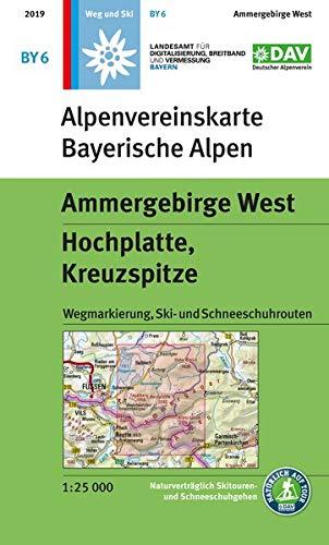 Ammergebirge West, Hochplatte, Kreuzspitze: Wegmarkierung, Ski- und Schneeschuhrouten: topographische Karte (Alpenvereinskarten)