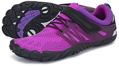 SAGUARO Barfußschuhe Damen Outdoor Zehenschuhe Traillaufschuhe Training Fitnessschuhe Straße Laufschuhe Walkingschuhe St.2 Violett 38