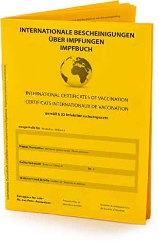 Hochwertiger Internationaler Impfpass, Impfausweis (Vers. 2021, 32 Seiten) nach offiziellen Vorgaben auf stabilem Papier, Impfbuch mit fest eingebundenem Notfallausweis