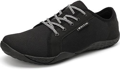 WHITIN Damen Canvas Sneaker Barfussschuhe Traillaufschuh Barfuss Schuhe Barfußschuhe Barfuß Barfußschuh Trekkingschuhe Minimalschuhe Laufschuhe für Frauen Hallenschuhe Outdoor Schwarz gr 39 EU