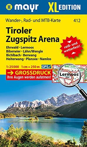Tiroler Zugspitz Arena XL, Ehrwald, Lermoos, Biberwier, Lähn/Wengle, Bichlbach, Berwang, Heiterwang, Plansee, Namlos: Wander-, Rad- und Mountainbikekarte. GPS-genau. 1:25000 (Mayr Wanderkarten)