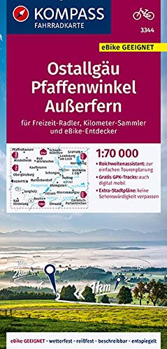 KOMPASS Fahrradkarte Ostallgäu, Pfaffenwinkel, Außerfern 1:70.000, FK 3344: reiß- und wetterfest mit Extra Stadtplänen (KOMPASS-Fahrradkarten Deutschland, Band 3344)