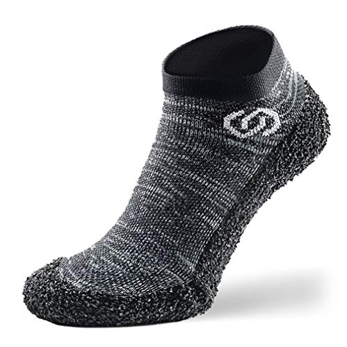 Skinners | Unisex Minimalistische Barfußschuhe für Damen & Herren | Minimalist Barefoot Socks/Shoes for Men & Women | Granite Grey White Logo, M