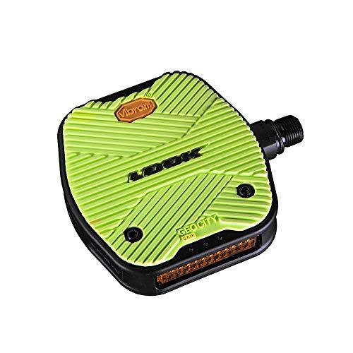 LOOK Cycle - Geo City Grip Fahrrad Pedale - Anti-Rutsch Flat Pedale - Innovative Activ Gummi Oberfläche - Premium Hochleistungs Fahrradpedale für Cityräder - Limone*