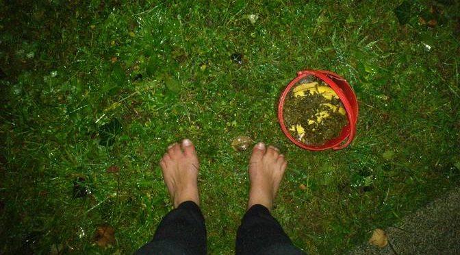 Barfuß auf dem Weg zum Kompost