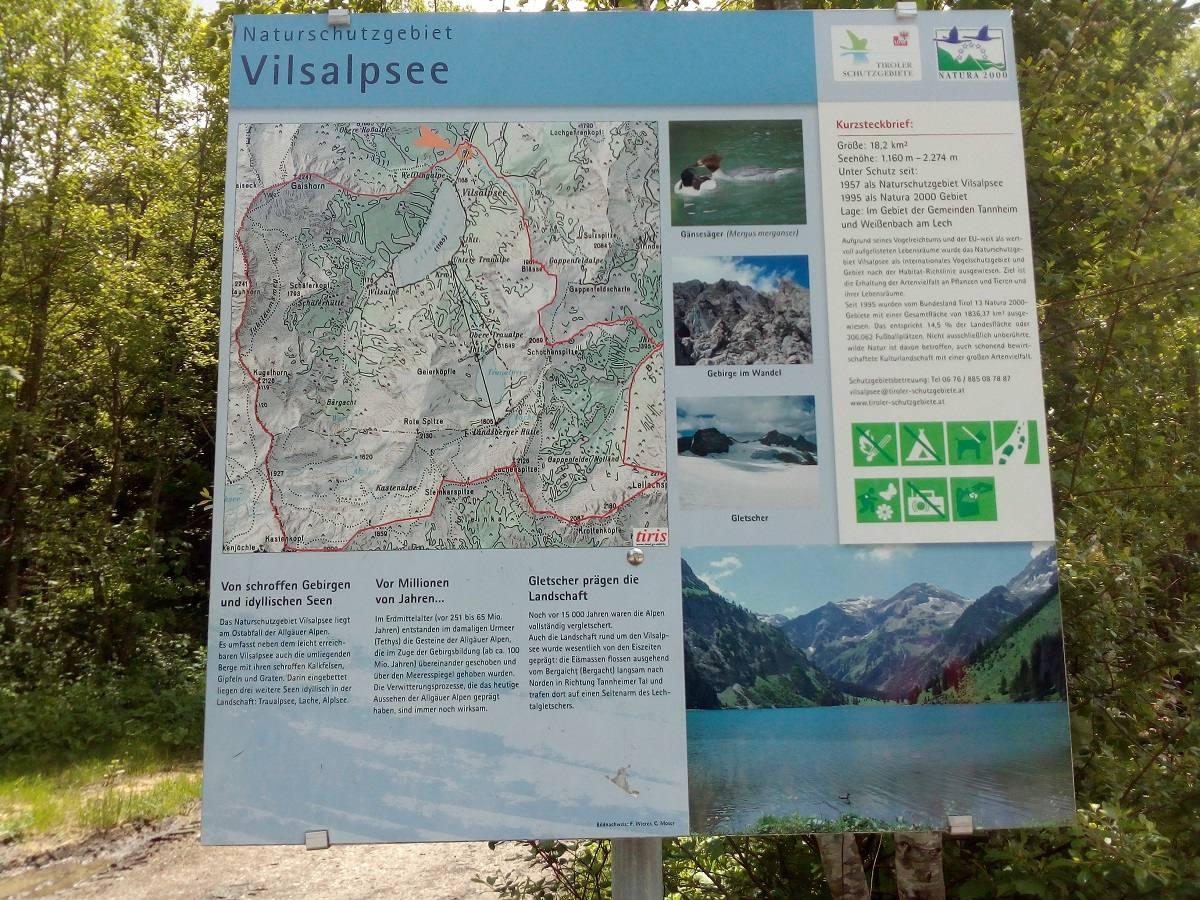 Schautafel Naturschutzgebiet Vilsalpsee im Tannheimer Tal