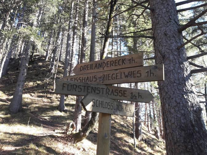 Hinweisschilder im Wald weisen den Weg zum Schlossloch