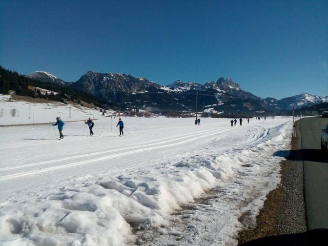 Skifahrer auf der Langlauf-Loipe im Tannheimer Tal