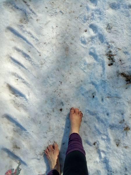 Wieder laufen wir eine Schneepassage