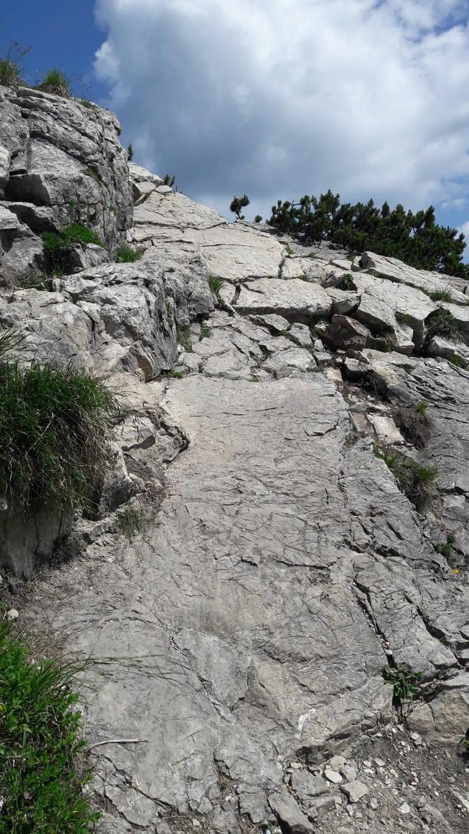 Steinplatten im Gipfelhang