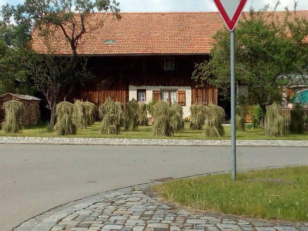 Traditionelle Heinze vor einem Bauernhof in Pfronten