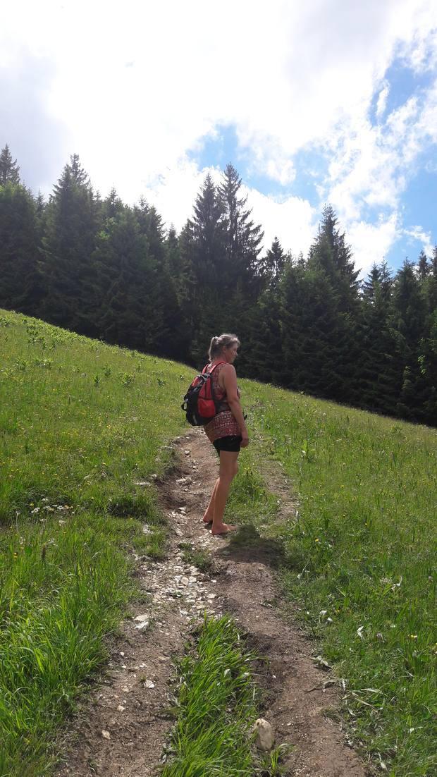 Eva auf dem Weg zum Tiroler Stadl