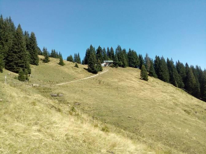 Schöner Blick auf die Fichtelhütte auf 1520 m