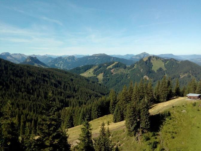Blick zu den Oberstdorfer Bergen und der markanten Spitze des Grünten