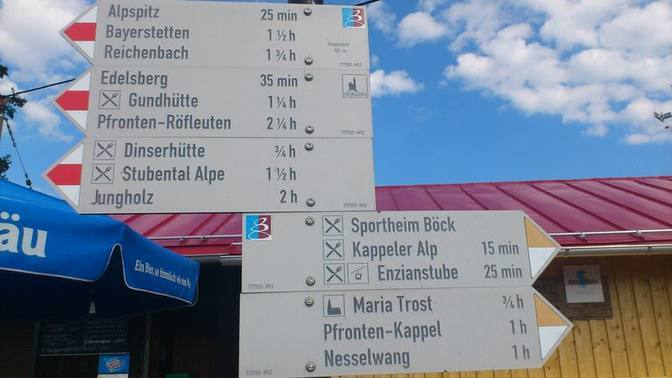 Wegweiser der Wanderwege an der Bergstation des Alpspitz in Nesselwang