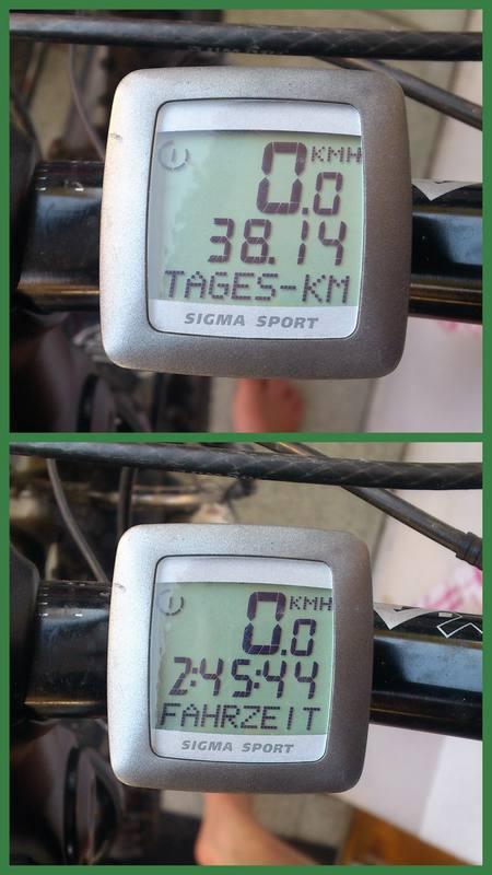 Mein Tachometer zeigt die gefahrene Strecke und die Zeit an