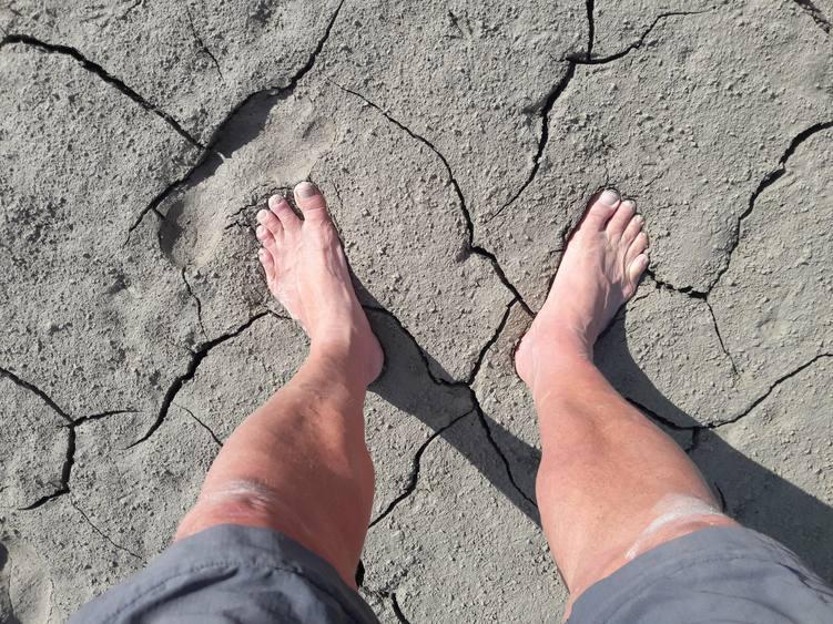 Fußabdruck im Schlamm, Wattwandern im Forggensee