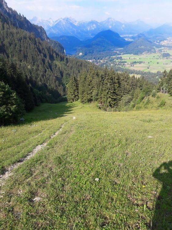Aufstieg zum Tegelberg auf der sommerlichen Skipiste
