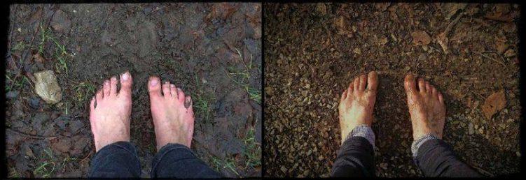 Nackte Füße im Schlamm