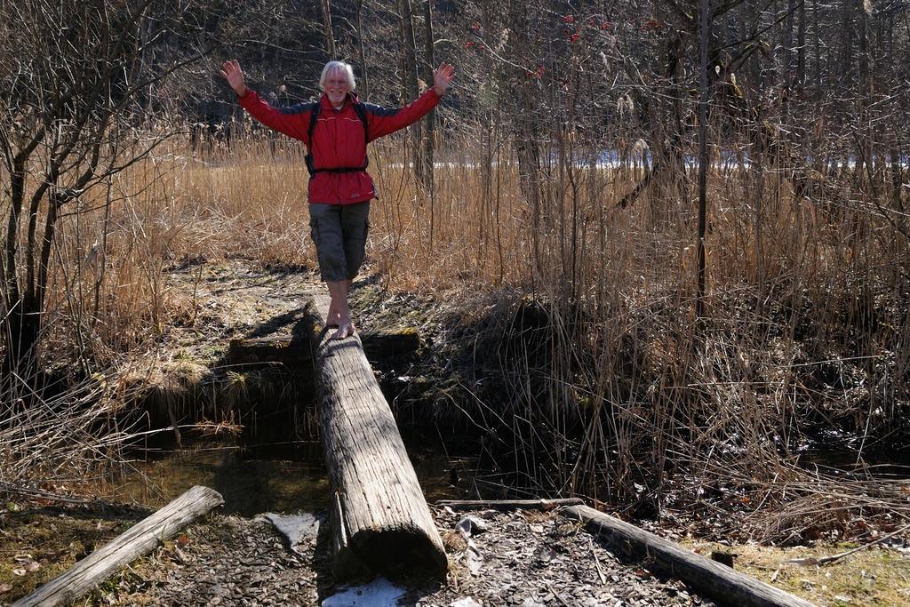 Barfuß über die Baumstammbrücke